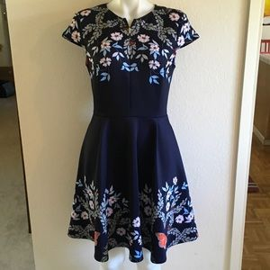 TED BAKER Navy Japanese Floral Fit Flare Dress Sz2